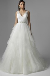 A-Line V-Neck Sleeveless Cascading-Ruffle Long Tulle&Lace Wedding Dress With Waist Jewellery And Deep-V Back