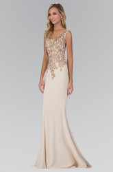 Sheath Long V-Neck Sleeveless Jersey Illusion Dress With Appliques And Beading