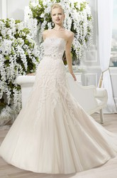 A-Line Jeweled Strapless Lace&Tulle Wedding Dress