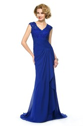 Elegant Chiffon and Lace Sheath V-Neck Cap Sleeve Dress with Keyhole Back