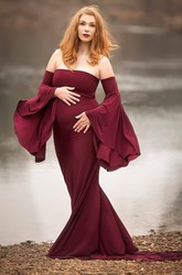 Sheath Court Train Long Sleeve Empire Maternity Dress