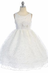 Tea-Length Embroideried Floral Sequins&Organza Flower Girl Dress With Sash