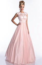 Tulle A-Line Cap Sleeve Elegant Prom Dress With Beaded Lace Appliques
