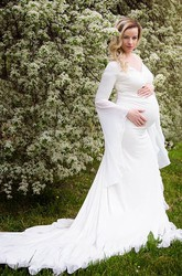 Sheath Court Train Long Sleeve Empire Maternity Wedding Dress