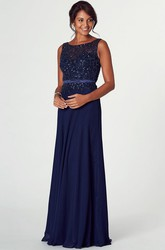 Floor-Length Mermaid Bateau Neck Sleeveless Beaded Chiffon Prom Dress