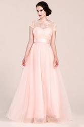 Cap Sleeve A-line Lace Tulle Bridesmaid Dress With Ribbon Belt