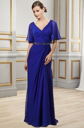 Sheath Floor-Length Side-Draped Poet-Short-Sleeve V-Neck Chiffon Formal Dress With Low-V Back And Waist Jewellery
