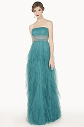 Empire Crystal Waist Strapless Long Tulle Prom Dress With Tiered Skirt