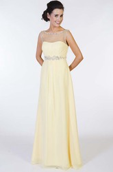 A-Line Scoop-Neck Floor-Length Sleeveless Beaded Chiffon Prom Dress With Waist Jewellery