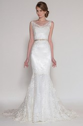 Mermaid Sleeveless Jeweled V-Neck Lace Wedding Dress