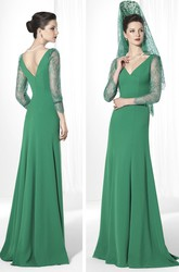 3-4-Sleeve V-Neck Lace Floor-Length Jersey Prom Dress