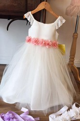 Floral Tea-Length Tiered Chiffon&Tulle Flower Girl Dress