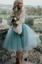 A-line Two Piece Tea-length Long Sleeve Pleats Lace Tulle Homecoming Dress