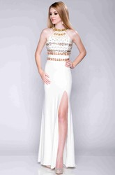 Side Slit Sheath Jersey Prom Dress With Metallic Top
