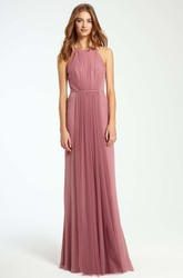 Maxi Ruched Sleeveless High Neck Tulle Bridesmaid Dress