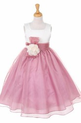 Floral Bowed Floral Organza&Satin Flower Girl Dress With Sash