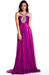 Floor-Length Beaded Strapped Sleeveless Chiffon Prom Dress