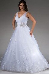 V Neck Tulle Bridal Ball Gown With Lace And Beaded Bandage