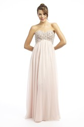 Sheath Beaded Sweetheart Sleeveless Empire Long Chiffon Prom Dress