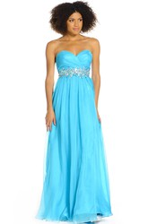 A-Line Sweetheart Ruched Sleeveless Floor-Length Prom Dress With Waist Jewellery