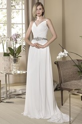 Sheath V-Neck Ruched Sleeveless Floor-Length Chiffon Wedding Dress With Waist Jewellery And Pleats