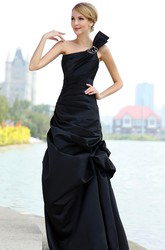 Asymmetrical One-Shoulder Sleeveless Satin Dress With Pick-Up Ruffles