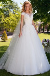 Ball Gown Cap Sleeve Appliqued Bateau Neck Tulle Wedding Dress