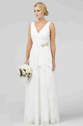 Sheath V-Neck Maxi Sleeveless Chiffon Wedding Dress With Criss Cross And Draping