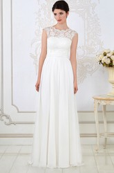 A-Line Sleeveless Long Scoop-Neck Appliqued Wedding Dress With Pleats