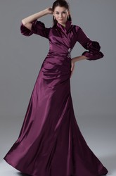 Modest Long-Sleeve Side-Ruched Formal Gown with Beading and Flower