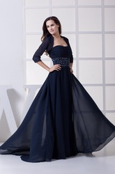 Strapless Chiffon Maxi Formal Dress with Bolero and Beaded Waist