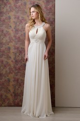 Sleeveless Pleated Long Chiffon Gown Featuring Jeweled Neck