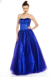 A-Line Sleeveless Long Sequined Strapless Tulle Prom Dress With Corset Back And Bow