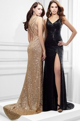 Sleeveless V-Neck Split-Front Sequin Prom Dress With Straps