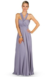 A-Line Floor-Length Ruched Sleeveless Haltered Chiffon Convertible Bridesmaid Dress