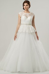 Ball Gown Jeweled Cap-Sleeve Scoop-Neck Tulle Wedding Dress With Lace And Peplum