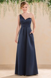 One-Shoulder A-Line Satin Gown With Pockets And Ruching