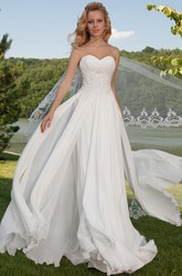 Sleeveless Criss-Cross Sweetheart Chiffon Wedding Dress With Draping