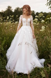 Tulle Illusion Sleeve And Illusion Button Back Adorable Wedding Dress With Lace Details