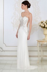 Sheath Scoop-Neck Beaded Sleeveless Floor-Length Jersey Evening Dress