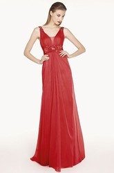 Empire Floral Waist A-Line Chiffon Long Prom Dress With V Back