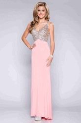 V-Neck Sleeveless Column Chiffon Prom Dress With Rhinestone Bodice