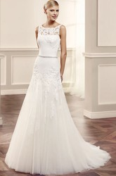 A-Line Bateau Sleeveless Appliqued Maxi Tulle Wedding Dress With Illusion Back And Waist Jewellery