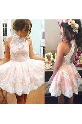 A-line Ball Gown Short Mini Sleeveless High Neck Pleats Ruching Lace Homecoming Dress