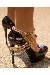 Western Style Fashion Ladies Heavy Metal Shoe Chains Decorated Anklets