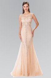 Mermaid Scoop-Neck Sleeveless Tulle Lace Illusion Dress With Beading
