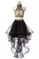 Two Piece High-low Sleeveless High Neck Beading Pleats Ruffles Tulle Homecoming Dress
