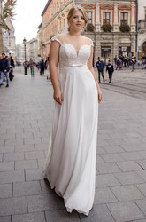 Cap Sleeve Illusion Back With Keyhole Corset Sexy Plunging Plus Size Wedding Dress