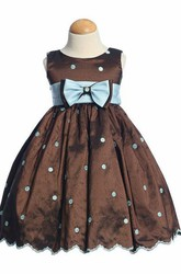 Tea-Length Embroideried Bowed Taffeta Flower Girl Dress