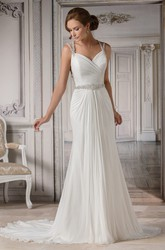 Cap-Sleeved Mermaid Chiffon Wedding Dress With Pleats And Beadings